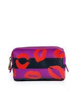 Royal Fuchsia Multi Stripey Lips PVC Cosmetic Case