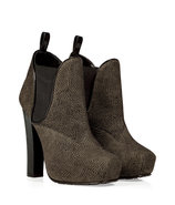 Olive and Black Platform Ankle Boots