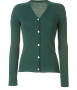 Fir Green V-Neck Cashmere Cardigan