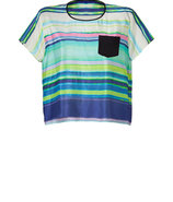 Multicolored Striped Silk T-Shirt