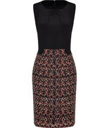 Red-Fluo Diamond Print Silk Colette Sheath Dress