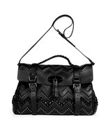 Black Smooth Touch Leather Oversized Zigzag Bag