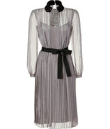 Silver Grey Sequin Embellished Belted Silk Chiffon