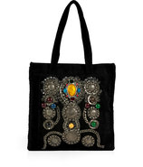 Black Suede Crystal Embellished Tote