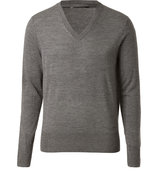 Mid Heather Grey Wool V-Neck Barnett Pullover