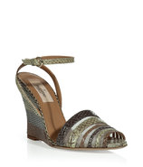 Multicolor Python Ankle Strap wedges