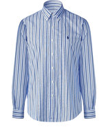 White and blue striped poplin custom fit shirt