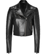 Black Cropped Leather Jacket