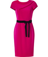Fuchsia Satin and Crepe Sheath Dress
