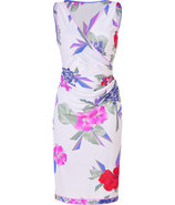White-Multi Floral Print Draped Silk Dress