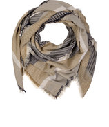 Beige/Navy Cotton-Linen Scarf