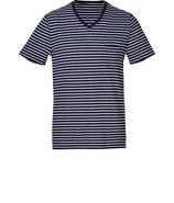 Coastal White Cotton-Linen Striped T-Shirt