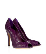 Iris Python-Embossed Peep Toe Pumps