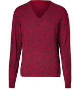 Garnet Red Paisley Print Wool-Silk-Cashmere V-Neck