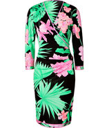 Black-Multi Floral Print Silk Wrap Dress