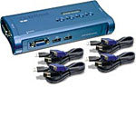 4-Port USB KVM Switch Kit w/ Cables TK-407K