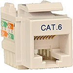 Cat6/Cat5e RJ-45 110 Punch Down Keystone Jack, Whi